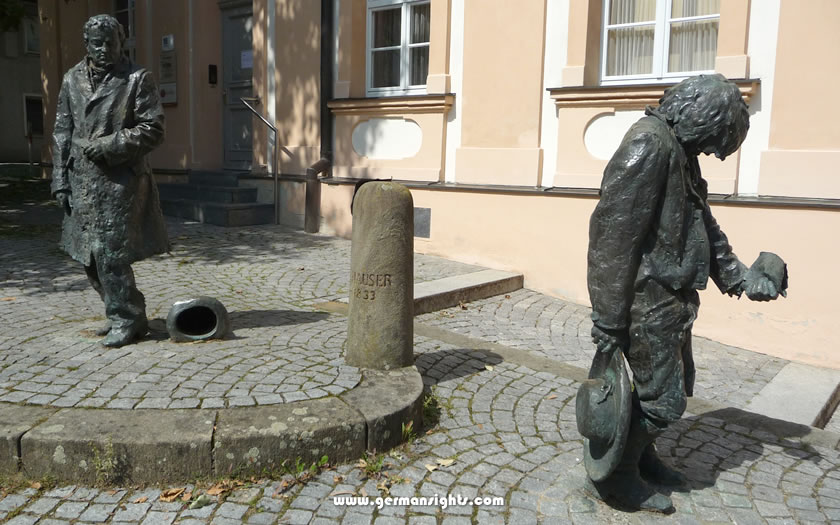 The statues of Kaspar Hauser in Ansbach