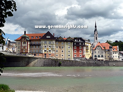 The historic centre of Bad Tolz Germany seen from the other bank of the Isar