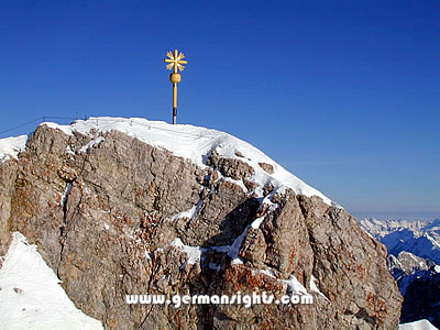 The cross on the peak of the Zugspitze