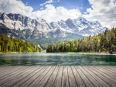 The Zugspitze from the Eibsee lake