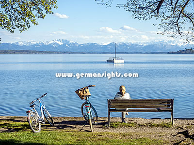 The Starnberger See near Munich with the Alps in the background