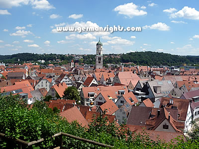 View over Biberach an der Riss from the old town walls
