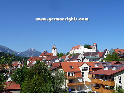 View towards the centre of Füssen, Germany
