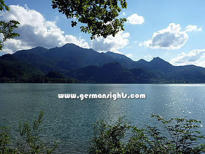 A view across the Kochelsee to the Walchensee range and the Herzogstand