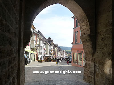 View through the tower gate down the main street of Rottweil