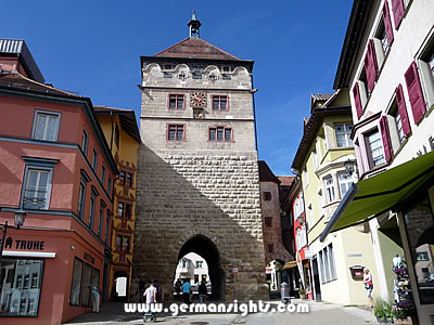 The Black Tower (Schwarzes Tor) at the top of the main street in Rottweil