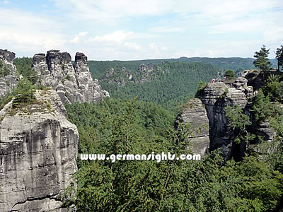 Some of the rock formations near the Bastei on the Elbe river