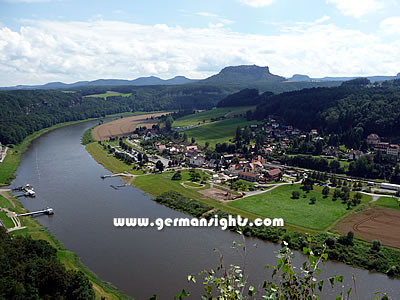 The Elbe River near the Saxon Switzerland National Park